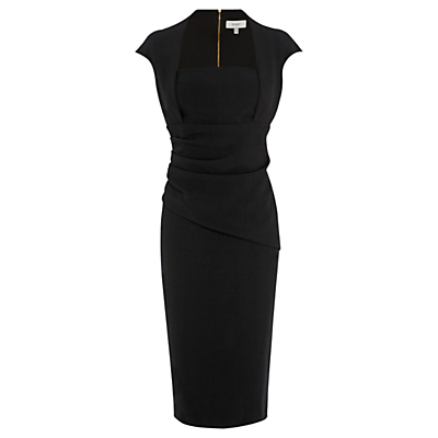 Loren Shift Dress, Black - style: shift; length: below the knee; sleeve style: capped; fit: tailored/fitted; pattern: plain; waist detail: twist front waist detail/nipped in at waist on one side/soft pleats/draping/ruching/gathering waist detail; predominant colour: black; occasions: evening, work, occasion; fibres: polyester/polyamide - stretch; sleeve length: short sleeve; neckline: low square neck; pattern type: fabric; texture group: jersey - stretchy/drapey; season: s/s 2016; wardrobe: investment