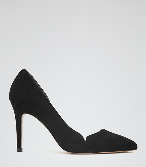 Venus Suede Court Shoes - predominant colour: black; occasions: work, creative work; material: suede; heel height: high; heel: stiletto; toe: pointed toe; style: courts; finish: plain; pattern: plain; season: a/w 2015; wardrobe: investment