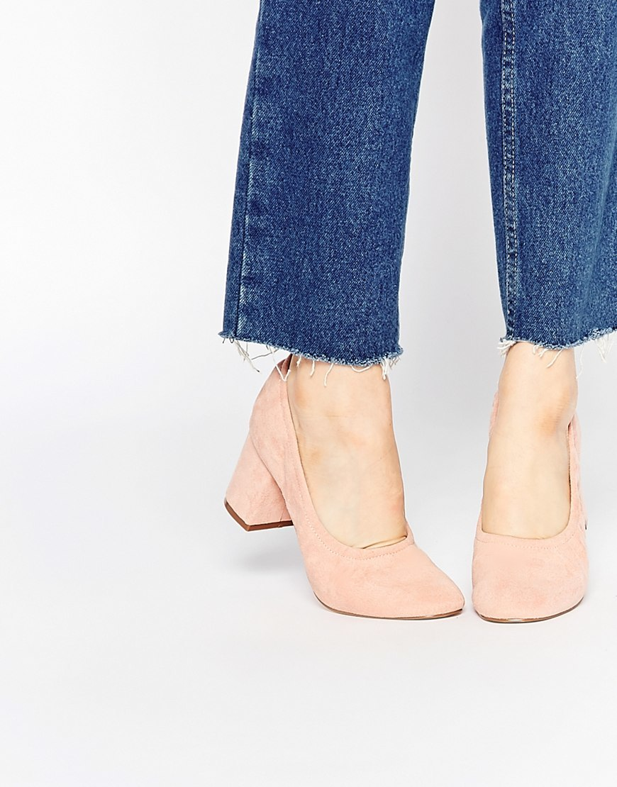 Simone Heels Apricot - predominant colour: nude; occasions: work, creative work; material: suede; heel height: mid; heel: block; toe: round toe; style: courts; finish: plain; pattern: plain; season: a/w 2015; wardrobe: investment