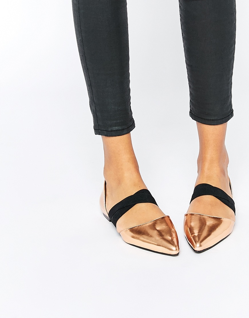 Logical Elastic Detail Point Copper Metallic - predominant colour: bronze; secondary colour: black; occasions: casual, creative work; material: faux leather; heel height: flat; toe: pointed toe; style: ballerinas / pumps; finish: metallic; pattern: colourblock; season: a/w 2015; wardrobe: highlight