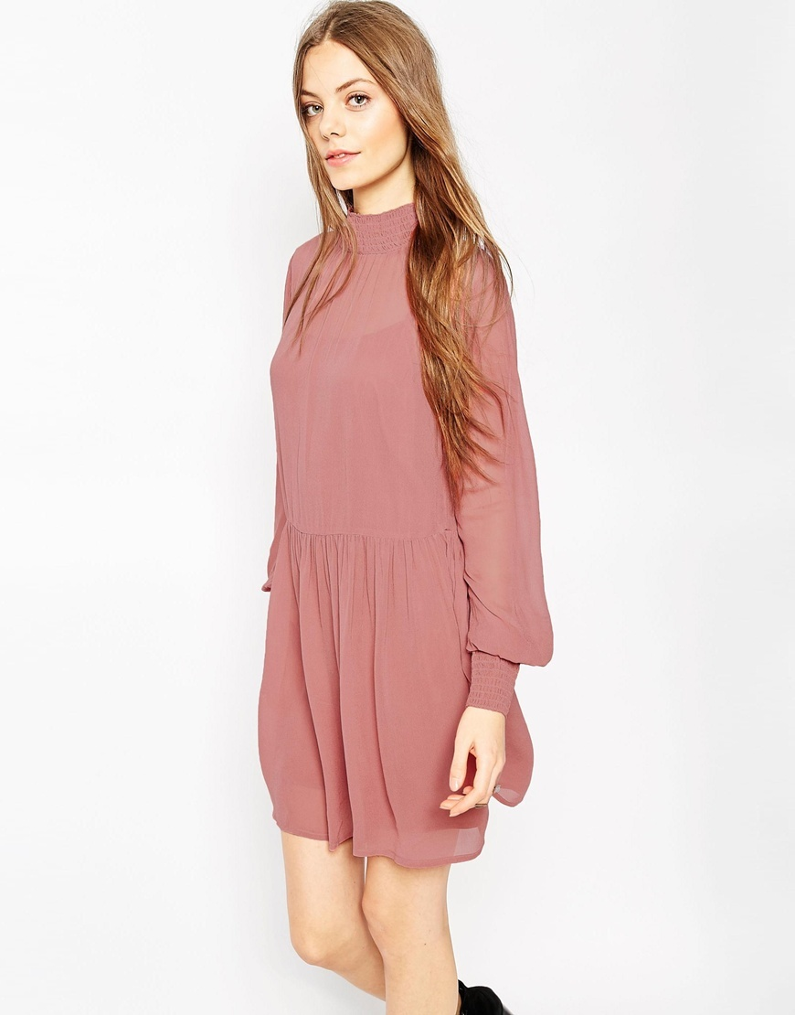 Shirred Neck Swing Dress Dusky Pink - length: mid thigh; pattern: plain; style: drop waist; neckline: high neck; predominant colour: pink; occasions: evening; fit: body skimming; fibres: viscose/rayon - 100%; hip detail: soft pleats at hip/draping at hip/flared at hip; sleeve length: long sleeve; sleeve style: standard; pattern type: fabric; texture group: jersey - stretchy/drapey; season: a/w 2015