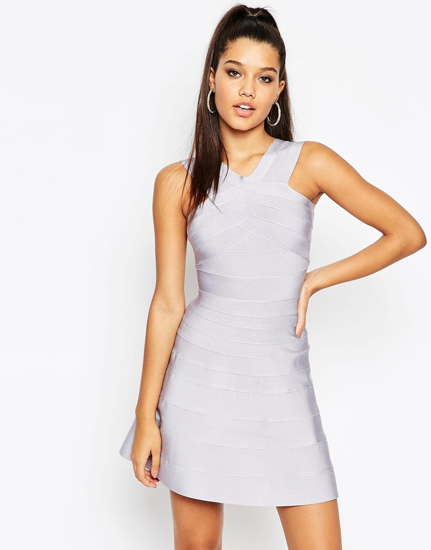 Sculpt Premium Bandage Mini Swing Dress Lilac - length: mid thigh; neckline: v-neck; fit: tight; pattern: plain; sleeve style: sleeveless; style: bodycon; waist detail: fitted waist; predominant colour: lilac; occasions: evening; fibres: polyester/polyamide - 100%; sleeve length: sleeveless; texture group: knits/crochet; pattern type: knitted - fine stitch; season: a/w 2015; wardrobe: event