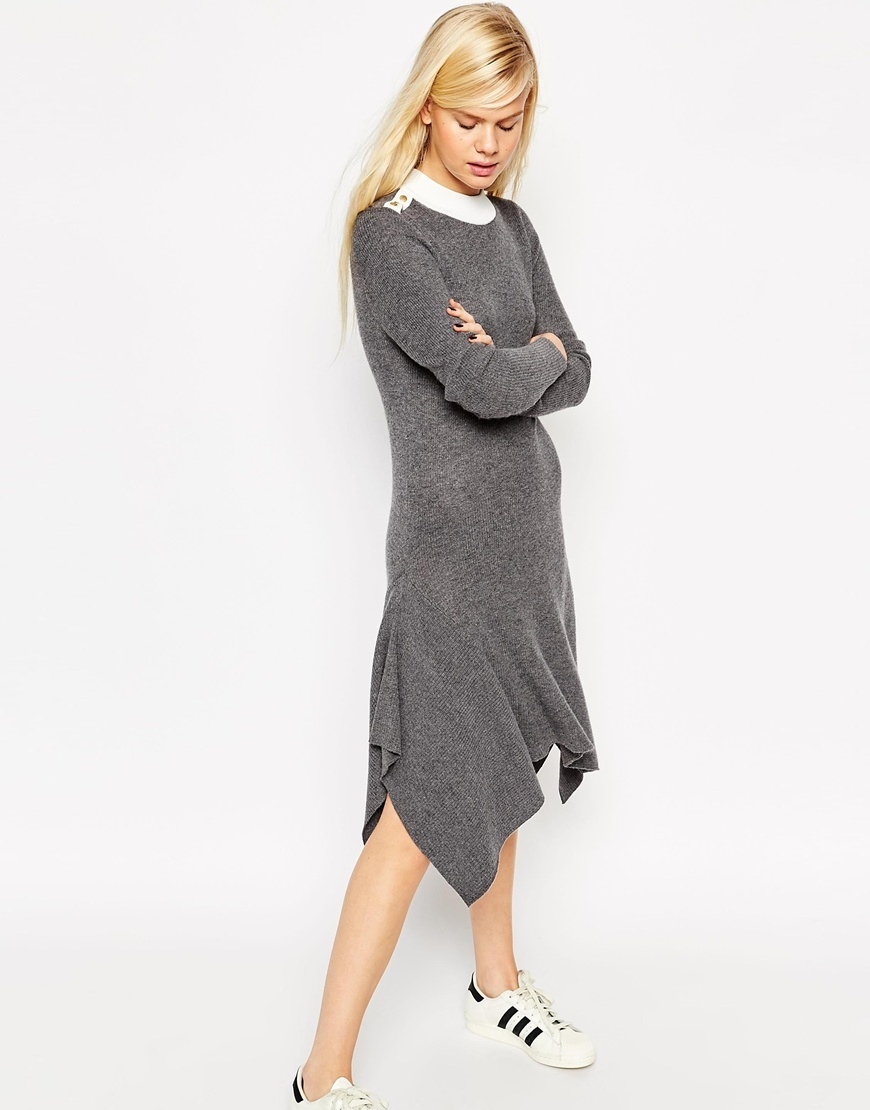 Jumper Dress In Rib Knit In Trapeze Shape With Popper Detail Grey - style: jumper dress; length: below the knee; neckline: round neck; pattern: plain; predominant colour: mid grey; occasions: casual; fit: body skimming; fibres: viscose/rayon - stretch; sleeve length: long sleeve; sleeve style: standard; texture group: knits/crochet; pattern type: knitted - fine stitch; season: a/w 2015; wardrobe: basic