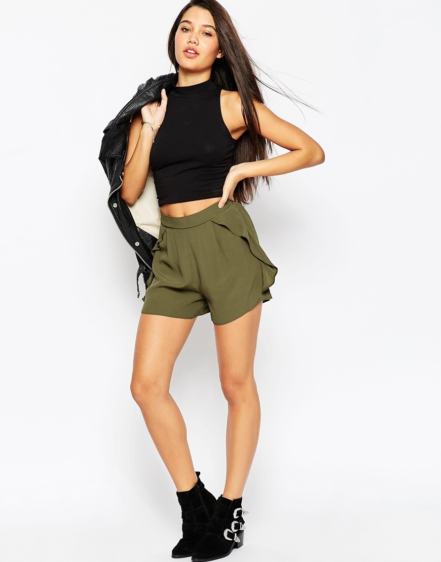 Woven Shorts With Flutter Sides Khaki - pattern: plain; waist: high rise; predominant colour: khaki; occasions: casual, evening; fibres: viscose/rayon - 100%; texture group: crepes; pattern type: fabric; season: a/w 2015; wardrobe: basic; style: shorts; length: short shorts; fit: a-line