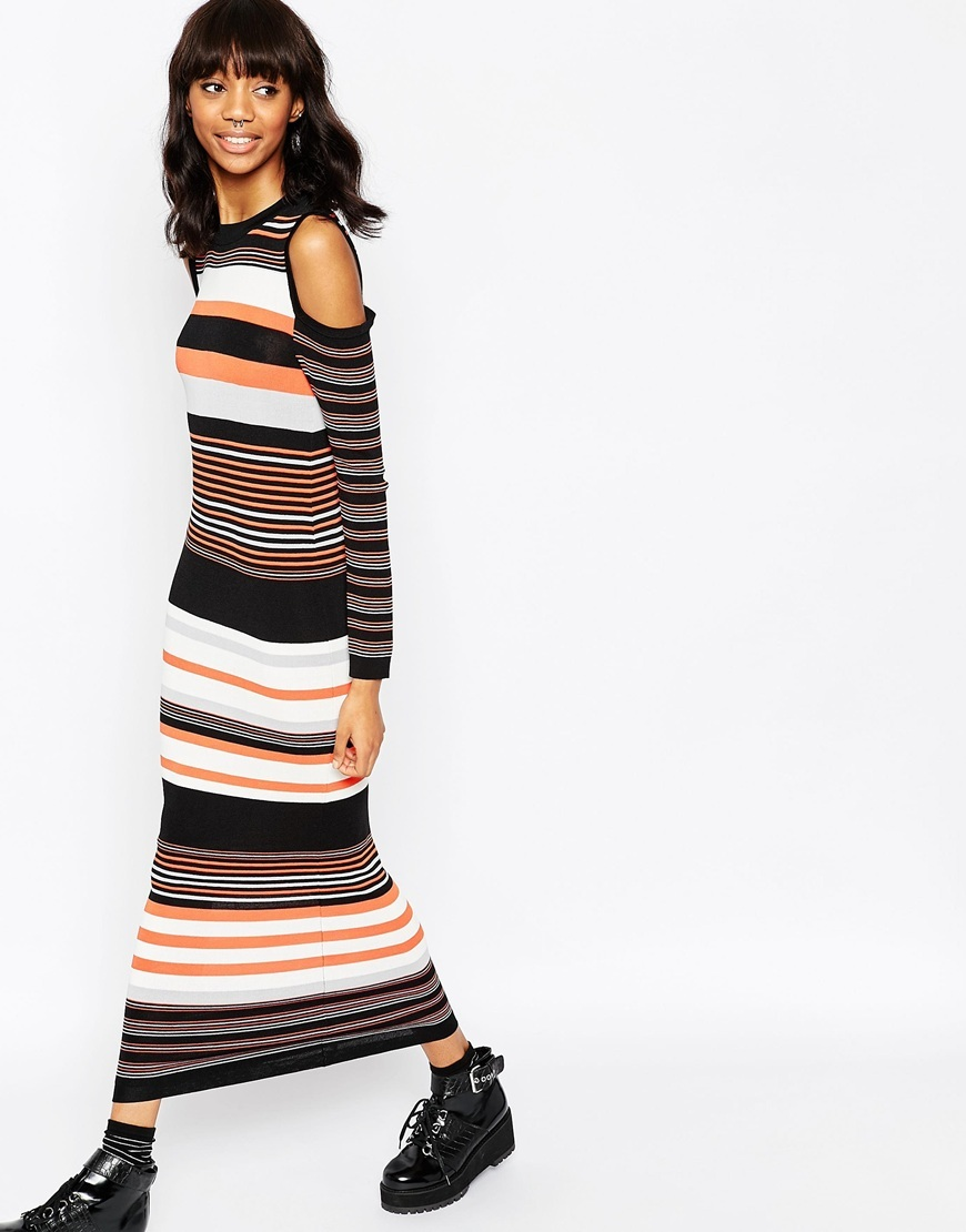 Maxi Dress In Stripe Knit And Cold Shoulder Multi - pattern: horizontal stripes; style: maxi dress; length: ankle length; secondary colour: coral; predominant colour: black; occasions: casual, creative work; fit: body skimming; neckline: crew; shoulder detail: cut out shoulder; sleeve length: long sleeve; sleeve style: standard; texture group: knits/crochet; pattern type: knitted - fine stitch; pattern size: standard; fibres: viscose/rayon - mix; season: a/w 2015; wardrobe: highlight