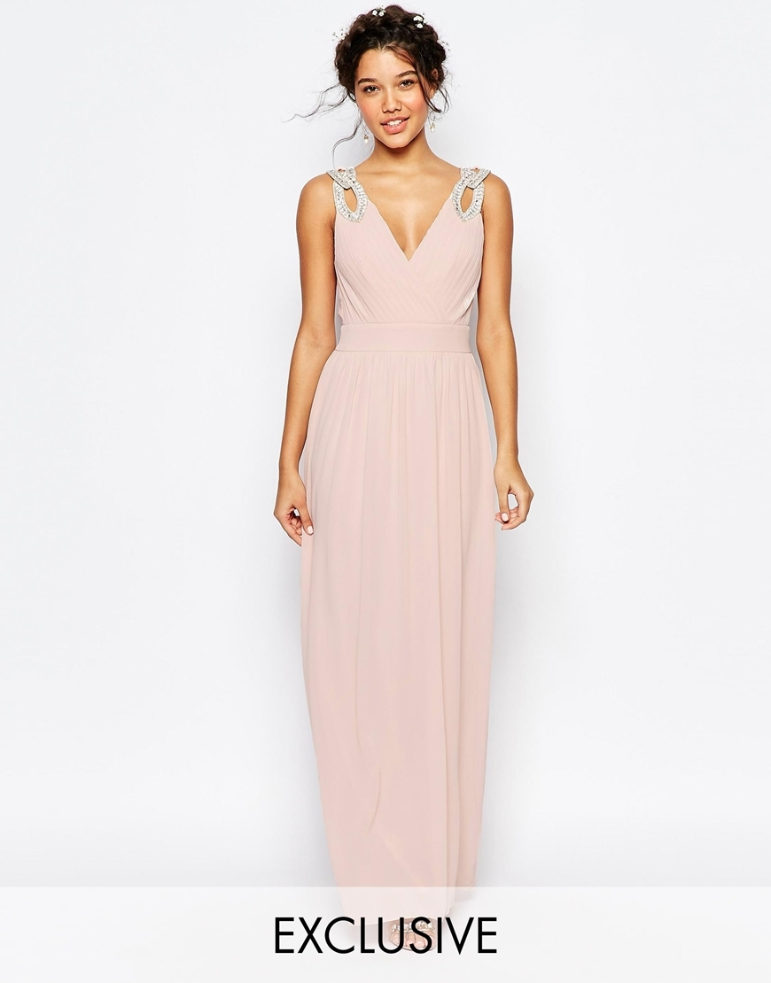 Wedding Wrap Embellished Maxi Dress Peach Blush - neckline: low v-neck; sleeve style: standard vest straps/shoulder straps; fit: fitted at waist; pattern: plain; style: maxi dress; length: ankle length; predominant colour: blush; fibres: polyester/polyamide - 100%; occasions: occasion; hip detail: subtle/flattering hip detail; sleeve length: sleeveless; texture group: sheer fabrics/chiffon/organza etc.; pattern type: fabric; embellishment: sequins; season: a/w 2015; wardrobe: event; embellishment location: shoulder