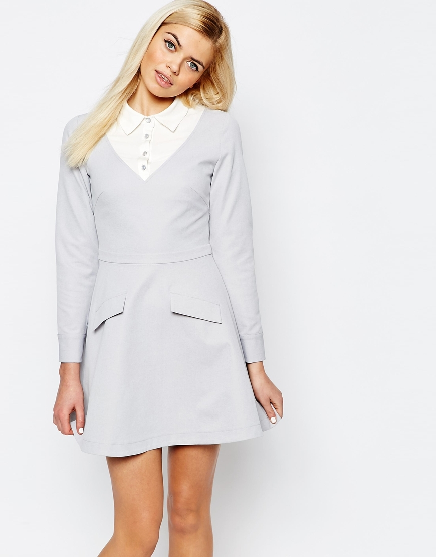 Amethyst Shirt Dress Grey - length: mid thigh; neckline: shirt collar/peter pan/zip with opening; secondary colour: white; predominant colour: light grey; occasions: evening, creative work; fit: fitted at waist & bust; style: fit & flare; fibres: polyester/polyamide - 100%; sleeve length: long sleeve; sleeve style: standard; texture group: crepes; pattern type: fabric; pattern size: light/subtle; pattern: colourblock; season: a/w 2015; wardrobe: highlight