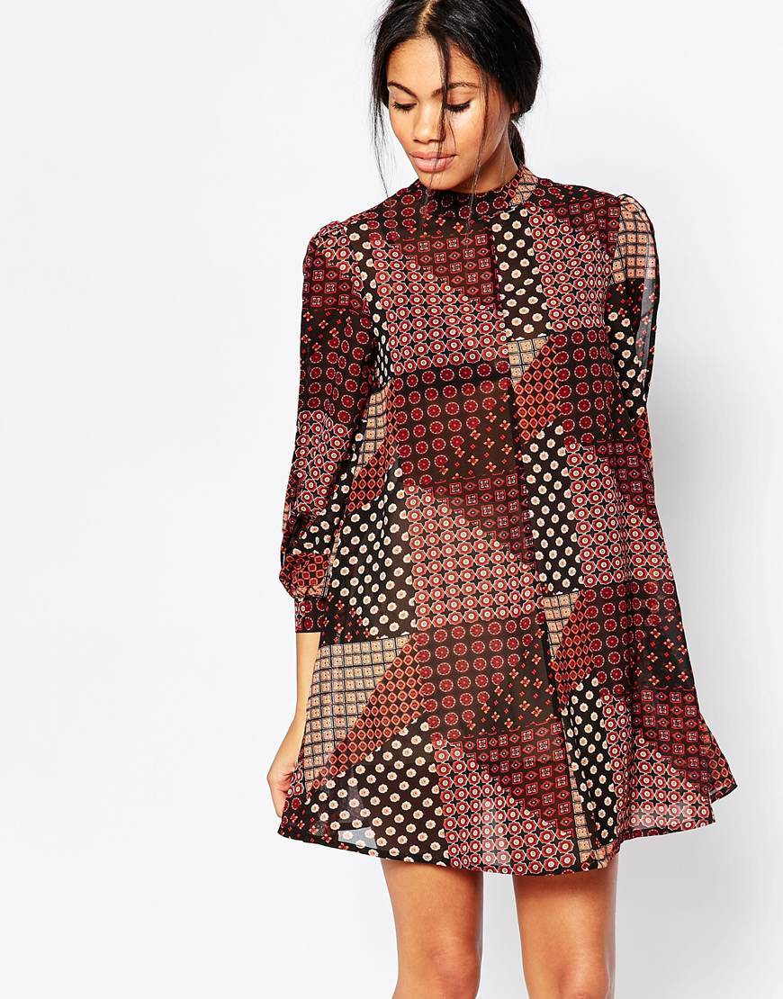 High Neck Split Sleeve Swing Dress In Patchwork Print Rust - style: smock; length: mid thigh; fit: loose; secondary colour: black; occasions: casual, creative work; fibres: polyester/polyamide - 100%; neckline: crew; sleeve length: 3/4 length; sleeve style: standard; texture group: crepes; pattern type: fabric; pattern size: big & busy; pattern: patterned/print; predominant colour: raspberry; season: a/w 2015; wardrobe: highlight
