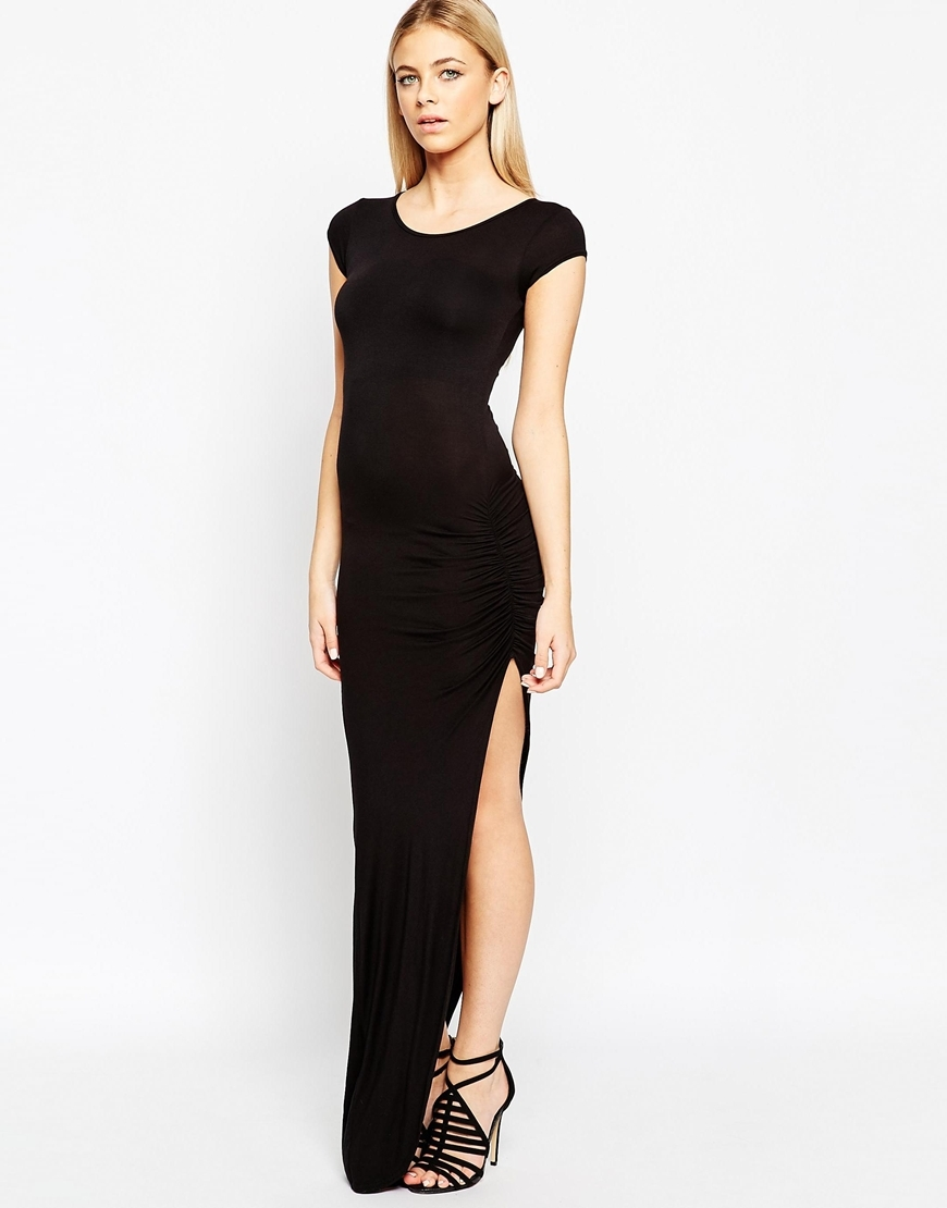 Essentials Jersey Maxi Dress With Side Split And Ruching Detail Black - neckline: round neck; sleeve style: capped; pattern: plain; style: maxi dress; hip detail: draws attention to hips; predominant colour: black; occasions: evening; length: floor length; fit: body skimming; fibres: polyester/polyamide - stretch; sleeve length: short sleeve; texture group: jersey - clingy; pattern type: fabric; season: a/w 2015; wardrobe: event
