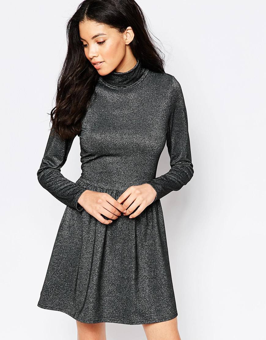 Metallic High Neck Skater Dress Black - length: mid thigh; pattern: plain; neckline: high neck; secondary colour: silver; predominant colour: charcoal; occasions: evening; fit: fitted at waist & bust; style: fit & flare; fibres: polyester/polyamide - stretch; hip detail: soft pleats at hip/draping at hip/flared at hip; sleeve length: long sleeve; sleeve style: standard; pattern type: fabric; texture group: jersey - stretchy/drapey; embellishment: glitter; season: a/w 2015
