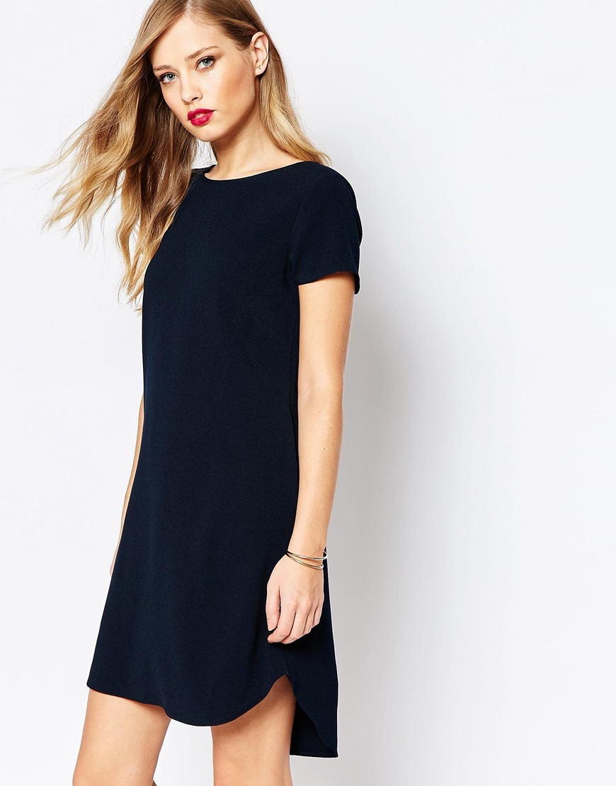 Closet Mini Shift Dress In Crepe Navy - style: tunic; length: mid thigh; neckline: slash/boat neckline; pattern: plain; predominant colour: navy; occasions: evening, creative work; fit: straight cut; fibres: polyester/polyamide - 100%; back detail: longer hem at back than at front; sleeve length: short sleeve; sleeve style: standard; texture group: crepes; pattern type: fabric; season: a/w 2015; wardrobe: investment