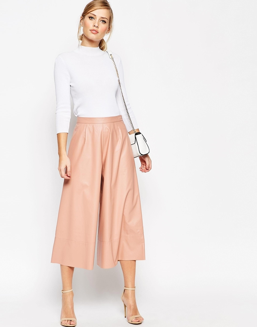 Leather Look Culottes Blush - pattern: plain; style: palazzo; waist: high rise; predominant colour: pink; occasions: casual, creative work; length: calf length; fibres: polyester/polyamide - 100%; texture group: crepes; fit: wide leg; pattern type: fabric; season: a/w 2015; trends: pink aw 15