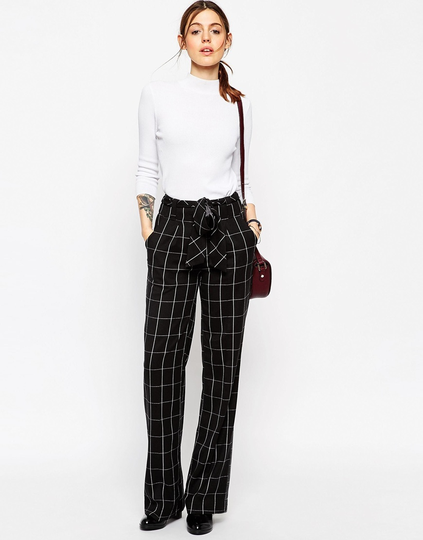 Wide Leg Trousers In Mono Grid Check With Obi Tie Mono - length: standard; pattern: checked/gingham; waist: high rise; waist detail: belted waist/tie at waist/drawstring; secondary colour: white; predominant colour: black; occasions: casual, creative work; fibres: polyester/polyamide - 100%; hip detail: subtle/flattering hip detail; trends: monochrome; fit: wide leg; pattern type: fabric; texture group: woven light midweight; style: standard; pattern size: standard (bottom); season: a/w 2015; wardrobe: highlight