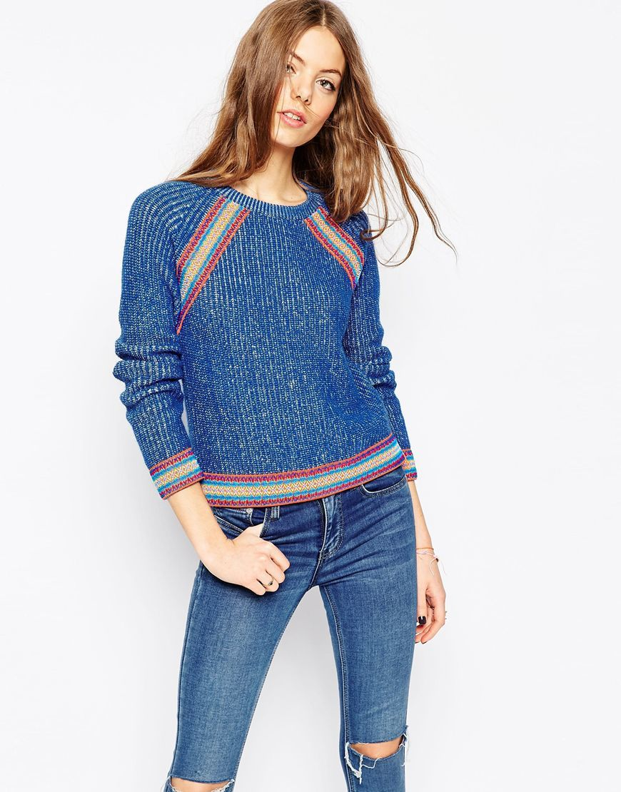 Jumper With Peruvian Inspired Trim Denim Blue - neckline: round neck; pattern: horizontal stripes; style: standard; predominant colour: denim; occasions: casual, creative work; length: standard; fibres: cotton - mix; fit: standard fit; sleeve length: long sleeve; sleeve style: standard; texture group: knits/crochet; pattern type: knitted - fine stitch; pattern size: light/subtle; season: a/w 2015; wardrobe: highlight