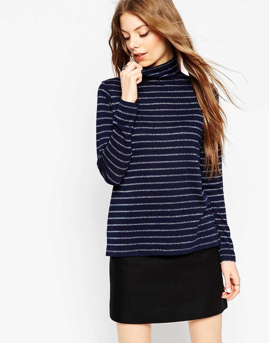 Polo Neck Top With Metallic Stripes Navy - pattern: horizontal stripes; neckline: high neck; predominant colour: navy; secondary colour: black; occasions: casual, creative work; length: standard; style: top; fibres: cotton - stretch; fit: body skimming; sleeve length: short sleeve; sleeve style: standard; pattern type: fabric; pattern size: light/subtle; texture group: jersey - stretchy/drapey; season: a/w 2015; wardrobe: basic
