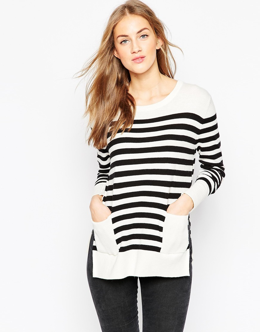 Mono Stripe Jumper Mono - neckline: round neck; pattern: horizontal stripes; length: below the bottom; style: standard; predominant colour: white; secondary colour: black; occasions: casual, creative work; fibres: cotton - mix; fit: standard fit; hip detail: subtle/flattering hip detail; back detail: longer hem at back than at front; sleeve length: long sleeve; sleeve style: standard; texture group: knits/crochet; pattern type: knitted - fine stitch; pattern size: big & busy (top); multicoloured: multicoloured; season: a/w 2015; wardrobe: highlight