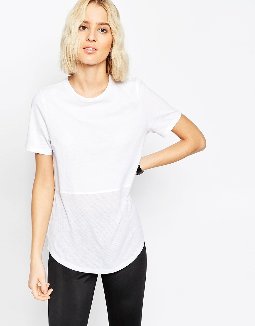 Contrast Ribbed Panel T Shirt White - pattern: plain; length: below the bottom; style: t-shirt; predominant colour: white; occasions: casual; fibres: cotton - 100%; fit: body skimming; neckline: crew; sleeve length: short sleeve; sleeve style: standard; pattern type: fabric; texture group: jersey - stretchy/drapey; season: a/w 2015; wardrobe: basic