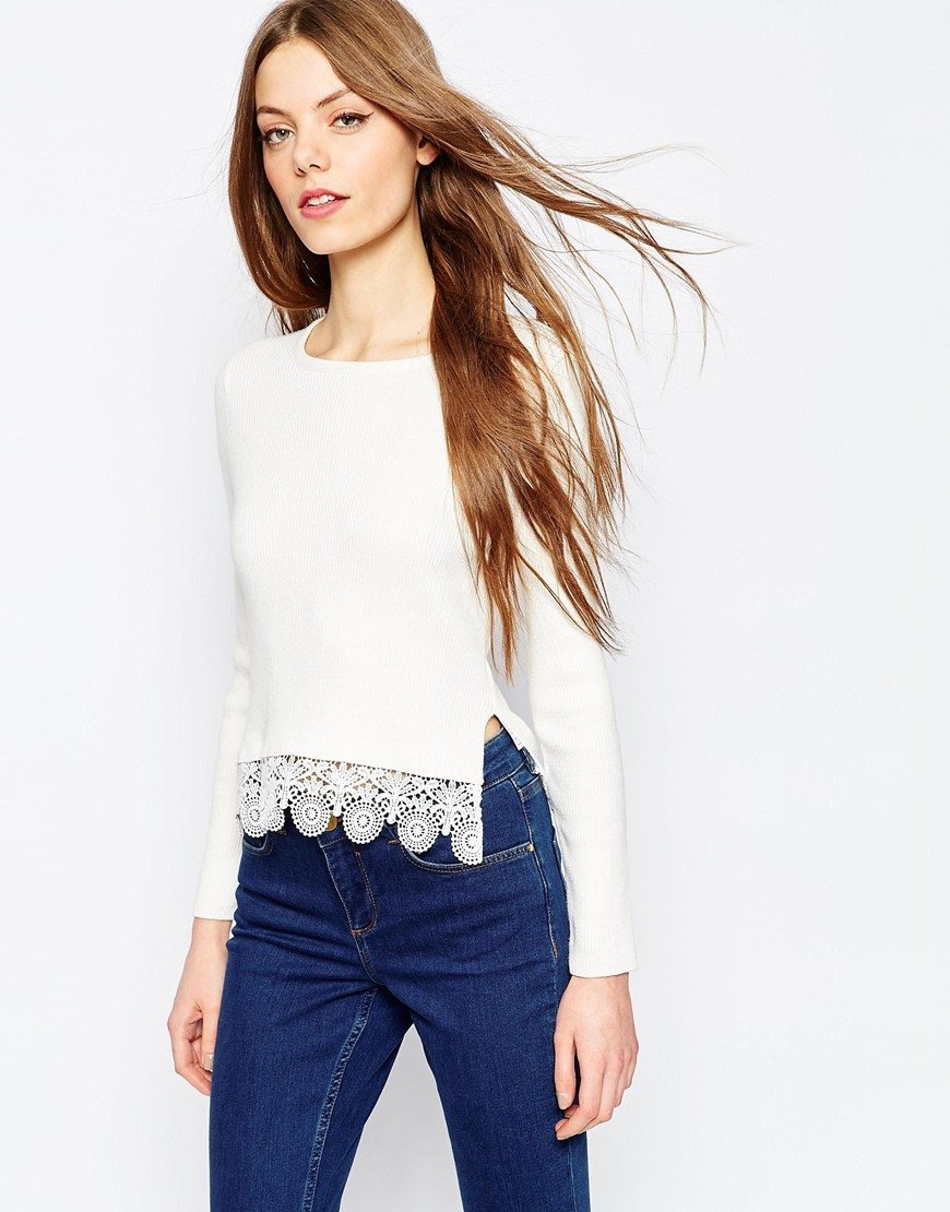 Cropped Jumper In Rib With Lace Hem White - neckline: round neck; pattern: plain; style: standard; predominant colour: ivory/cream; occasions: casual, creative work; length: standard; fibres: cotton - 100%; fit: slim fit; sleeve length: long sleeve; sleeve style: standard; texture group: knits/crochet; pattern type: knitted - fine stitch; season: a/w 2015