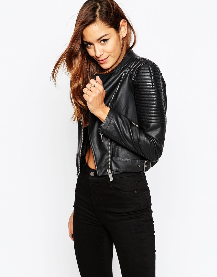 Leather Look Cropped Biker Jacket With Buckle Detail Black - pattern: plain; style: biker; collar: asymmetric biker; fit: slim fit; predominant colour: black; occasions: casual, evening, creative work; fibres: viscose/rayon - 100%; sleeve length: long sleeve; sleeve style: standard; texture group: leather; collar break: medium; pattern type: fabric; length: cropped; season: a/w 2015; wardrobe: basic