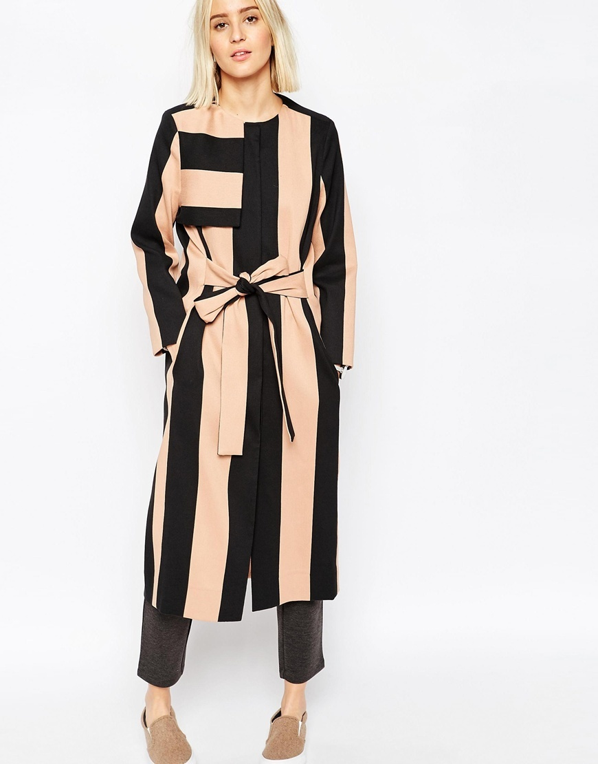 Stripe Trench Duster Coat Multi - pattern: vertical stripes; collar: round collar/collarless; style: single breasted; length: calf length; secondary colour: nude; predominant colour: black; occasions: casual, creative work; fit: straight cut (boxy); fibres: polyester/polyamide - mix; waist detail: belted waist/tie at waist/drawstring; sleeve length: long sleeve; sleeve style: standard; collar break: high; pattern type: fabric; texture group: other - light to midweight; season: a/w 2015; wardrobe: highlight