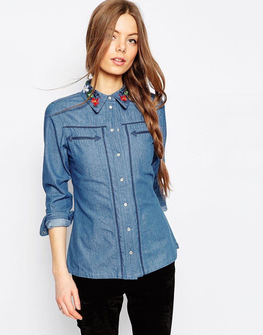 Denim Shirt With Embroidered Collar In Mid Wash Midwash Blue - neckline: shirt collar/peter pan/zip with opening; pattern: plain; style: shirt; predominant colour: denim; occasions: casual, creative work; length: standard; fibres: cotton - mix; fit: body skimming; sleeve length: long sleeve; sleeve style: standard; texture group: denim; pattern type: fabric; season: a/w 2015; wardrobe: basic