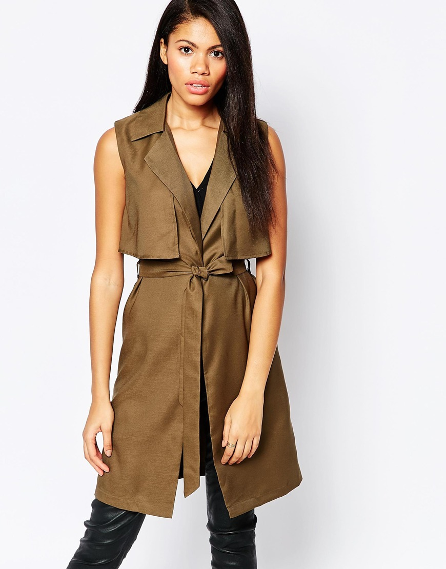 Longline Sleeveless Jacket Khaki - pattern: plain; sleeve style: sleeveless; style: gilet; collar: standard lapel/rever collar; length: on the knee; predominant colour: khaki; occasions: casual, creative work; fit: tailored/fitted; fibres: polyester/polyamide - 100%; waist detail: belted waist/tie at waist/drawstring; sleeve length: sleeveless; texture group: crepes; collar break: medium; pattern type: fabric; pattern size: standard; season: a/w 2015; wardrobe: highlight