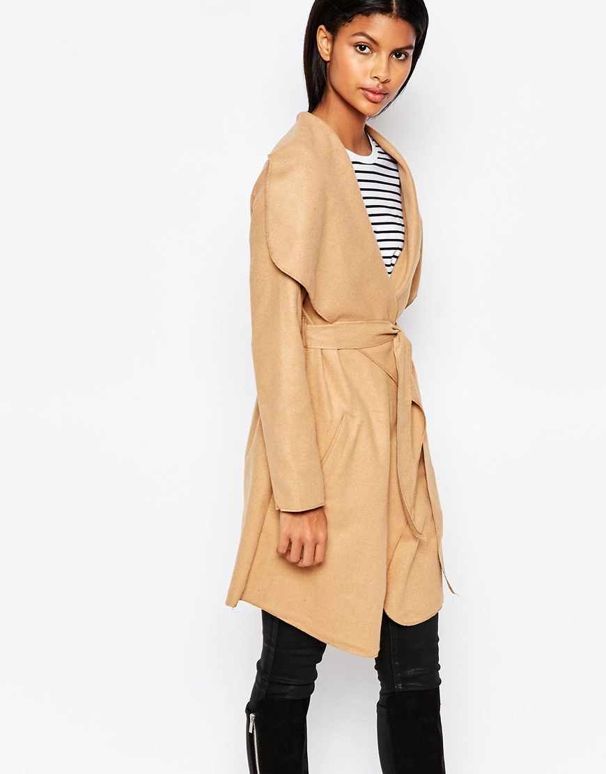 Belted Coat With Oversized Collar Camel - pattern: plain; collar: shawl/waterfall; style: wrap around; length: mid thigh; predominant colour: camel; occasions: casual, creative work; fit: tailored/fitted; fibres: polyester/polyamide - mix; waist detail: belted waist/tie at waist/drawstring; sleeve length: long sleeve; sleeve style: standard; collar break: low/open; pattern type: fabric; texture group: other - light to midweight; season: a/w 2015; wardrobe: basic