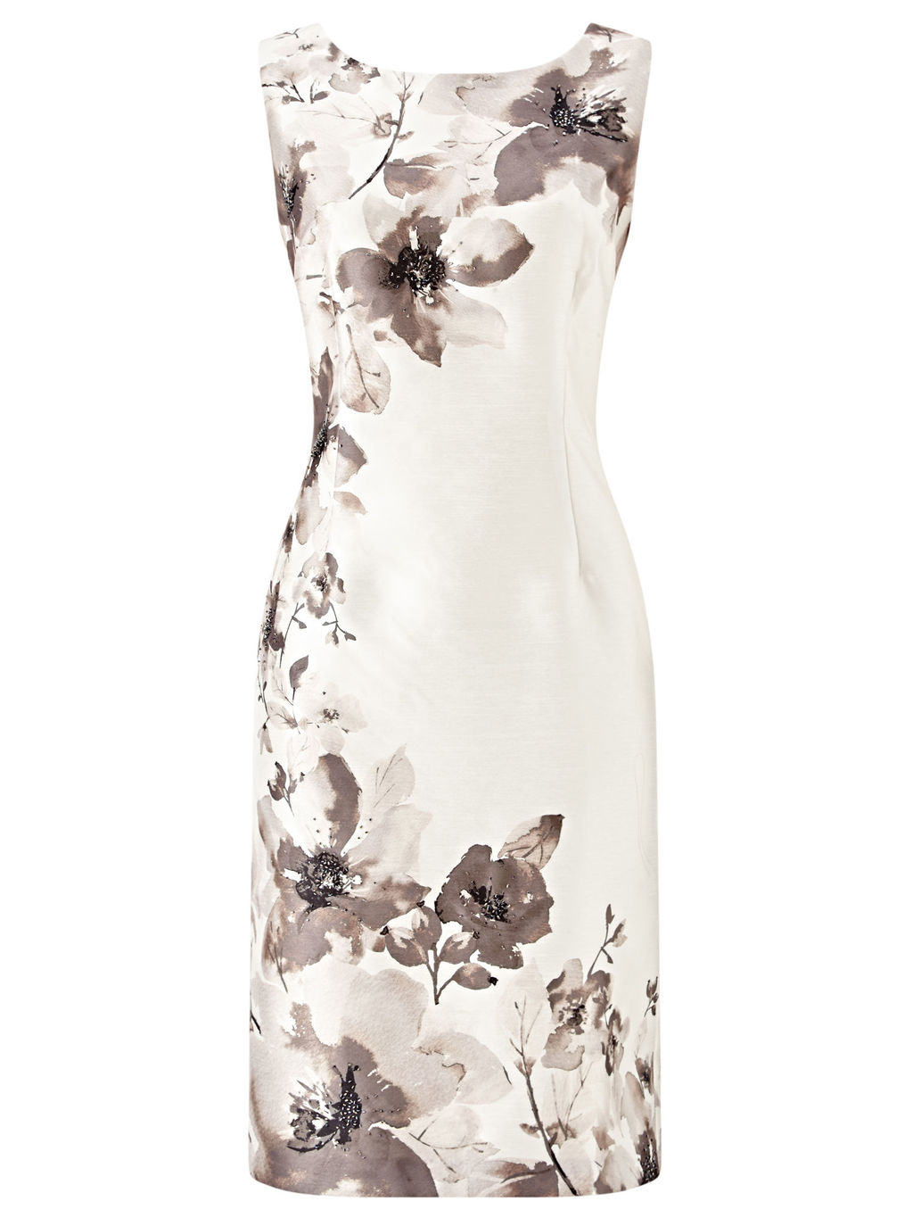 Flower Placement Dress, Cream/Multi - style: shift; neckline: round neck; fit: tailored/fitted; sleeve style: sleeveless; predominant colour: ivory/cream; secondary colour: mid grey; length: on the knee; fibres: polyester/polyamide - 100%; occasions: occasion; sleeve length: sleeveless; trends: monochrome; texture group: structured shiny - satin/tafetta/silk etc.; pattern type: fabric; pattern size: standard; pattern: florals; season: s/s 2016
