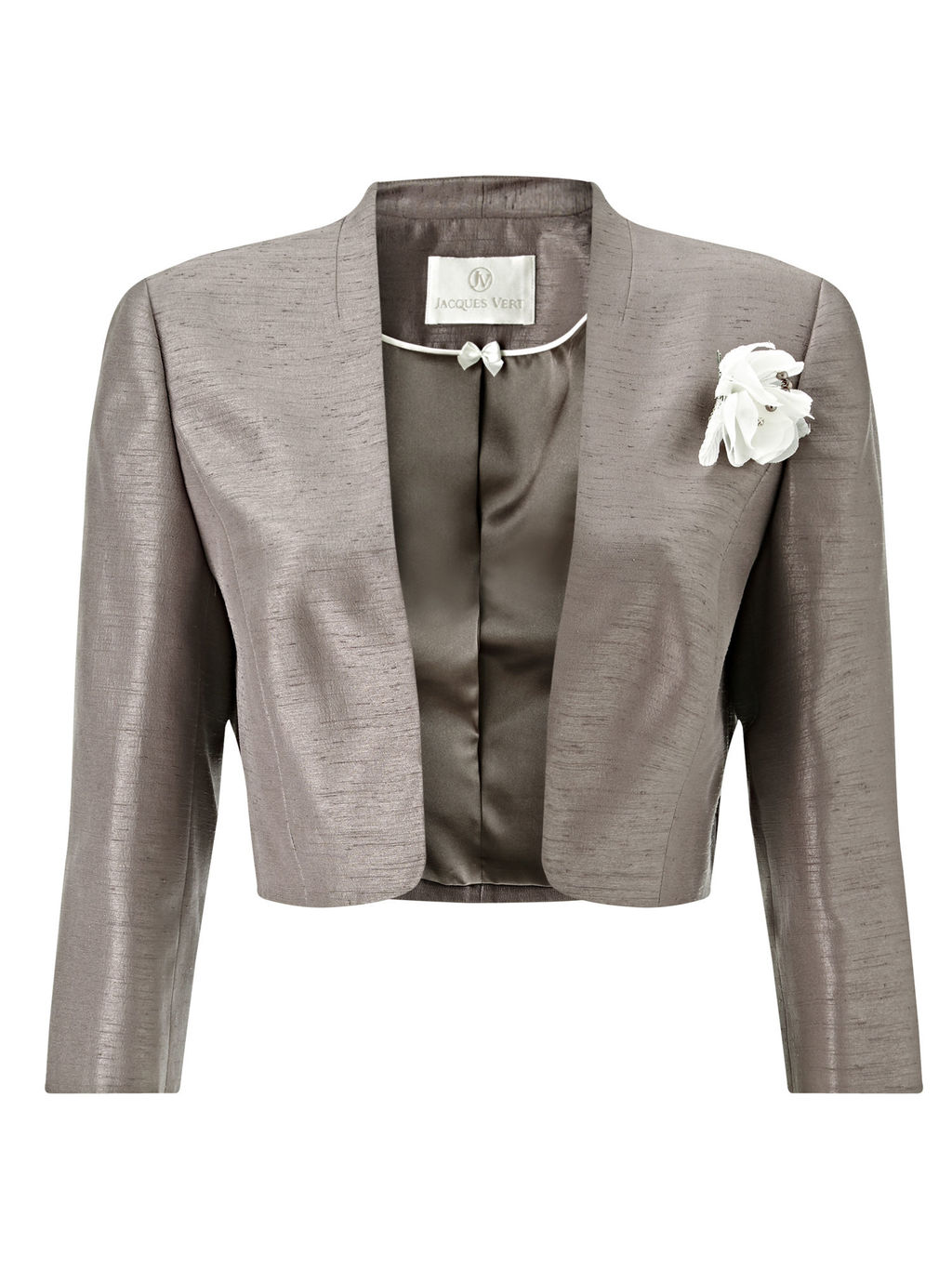 Stand Collar Bolero, Taupe - pattern: plain; style: bolero/shrug; collar: round collar/collarless; secondary colour: ivory/cream; predominant colour: taupe; fit: tailored/fitted; fibres: polyester/polyamide - 100%; occasions: occasion; sleeve length: 3/4 length; sleeve style: standard; texture group: structured shiny - satin/tafetta/silk etc.; collar break: low/open; pattern type: fabric; embellishment: corsage; length: cropped; season: s/s 2016; wardrobe: event