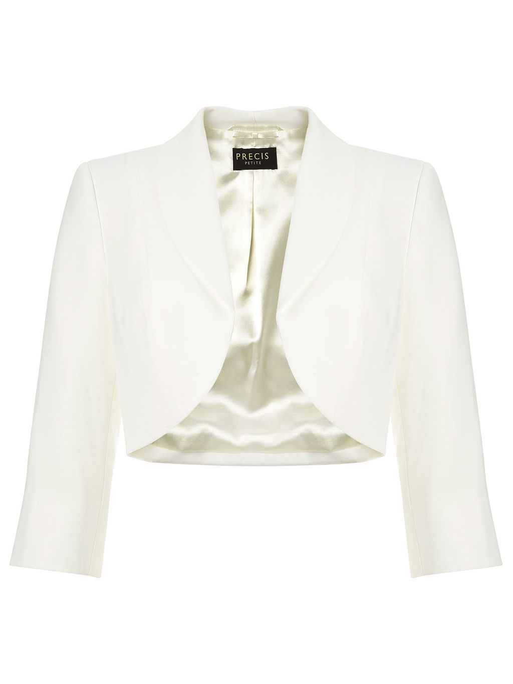 3/4 Sleeve Ivory Bolero - pattern: plain; style: bolero/shrug; collar: round collar/collarless; predominant colour: ivory/cream; occasions: evening, occasion; fit: tailored/fitted; fibres: polyester/polyamide - 100%; sleeve length: 3/4 length; sleeve style: standard; texture group: crepes; collar break: low/open; pattern type: fabric; length: cropped; season: s/s 2016; wardrobe: event