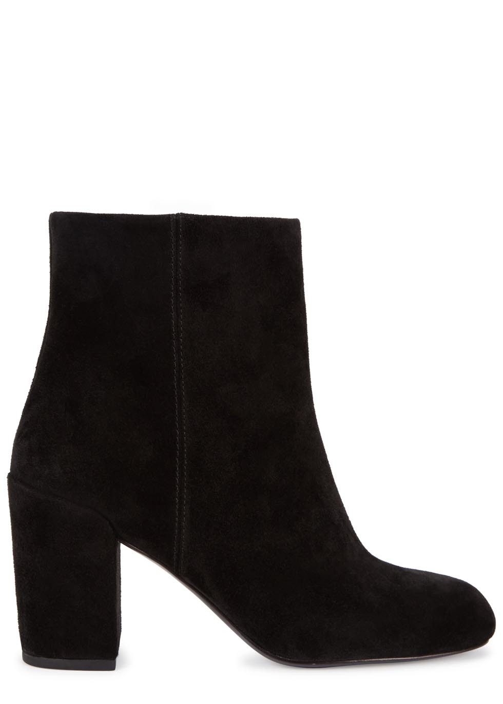 Hana Black Suede Ankle Boots - predominant colour: black; occasions: casual, creative work; material: suede; heel height: high; heel: block; toe: round toe; boot length: ankle boot; style: standard; finish: plain; pattern: plain; season: a/w 2015; wardrobe: highlight