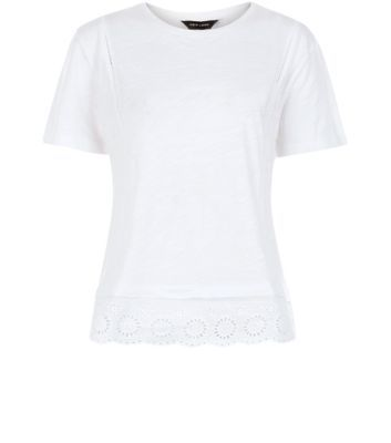White Crochet Hem T Shirt - neckline: round neck; pattern: plain; style: t-shirt; predominant colour: white; occasions: casual, creative work; length: standard; fibres: cotton - 100%; fit: body skimming; sleeve length: short sleeve; sleeve style: standard; pattern type: fabric; texture group: jersey - stretchy/drapey; season: a/w 2015; wardrobe: basic