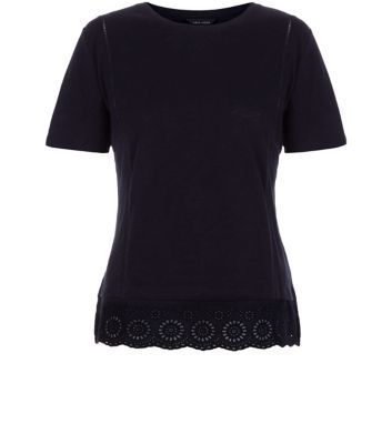 Black Crochet Hem T Shirt - neckline: round neck; sleeve style: capped; pattern: plain; style: t-shirt; predominant colour: black; occasions: casual, creative work; length: standard; fibres: cotton - 100%; fit: body skimming; sleeve length: short sleeve; texture group: jersey - clingy; pattern type: fabric; season: a/w 2015; wardrobe: basic