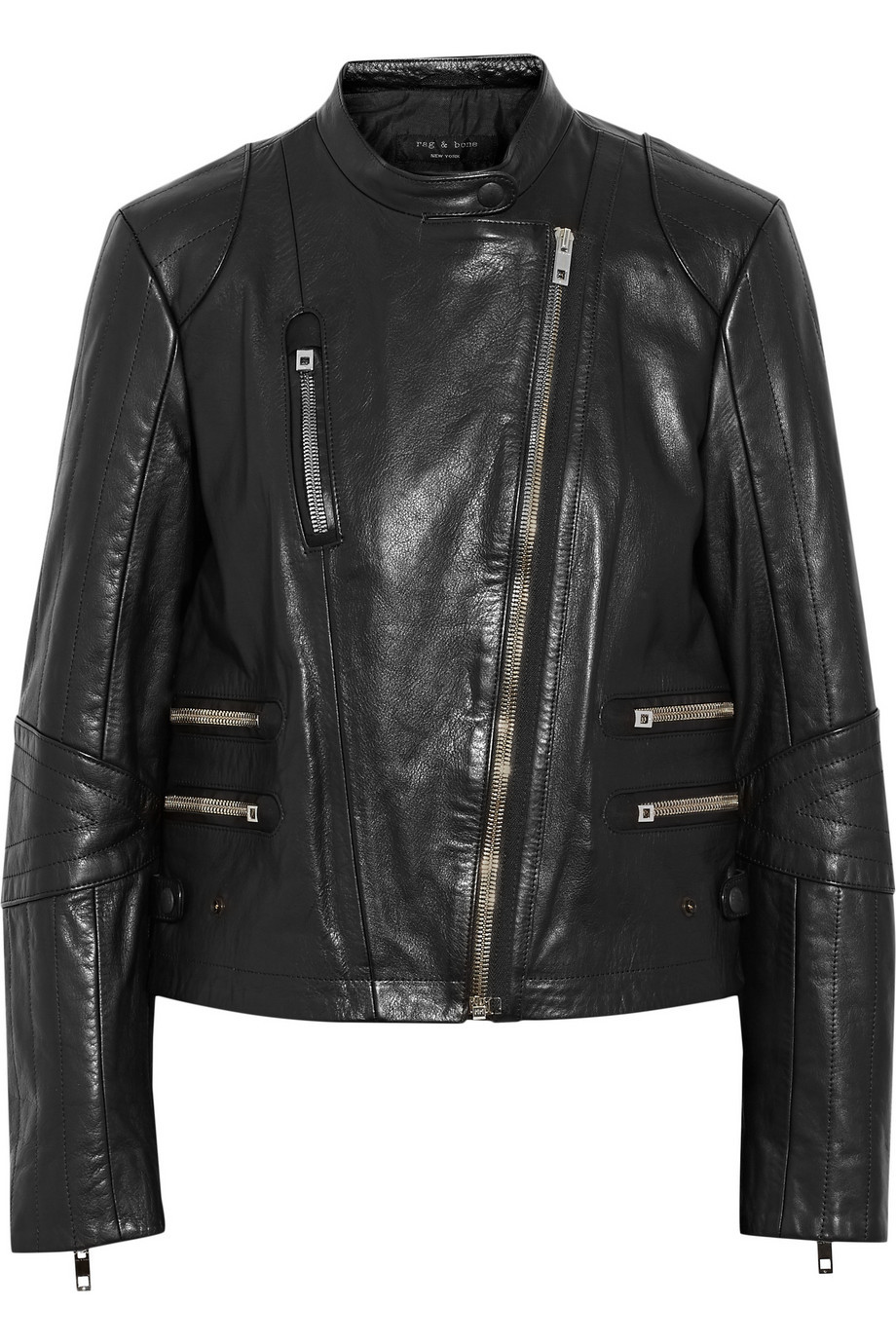 Chamonix Leather Jacket Black - pattern: plain; style: biker; collar: asymmetric biker; predominant colour: black; occasions: casual, creative work; length: standard; fit: straight cut (boxy); fibres: leather - 100%; sleeve length: long sleeve; sleeve style: standard; texture group: leather; collar break: high/illusion of break when open; pattern type: fabric; season: a/w 2015; wardrobe: basic