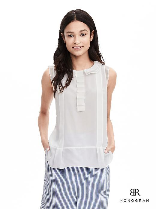 Br Monogram White - pattern: plain; sleeve style: sleeveless; predominant colour: ivory/cream; occasions: casual, creative work; length: standard; style: top; fibres: silk - mix; fit: straight cut; neckline: crew; sleeve length: sleeveless; texture group: crepes; pattern type: fabric; season: a/w 2015; wardrobe: highlight; embellishment location: bust