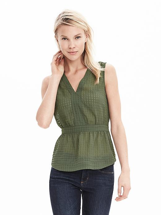 Textured Peplum Sleeveless Blouse Iguana Green - neckline: v-neck; pattern: plain; sleeve style: sleeveless; waist detail: fitted waist; style: blouse; predominant colour: khaki; occasions: casual, creative work; length: standard; fibres: polyester/polyamide - stretch; fit: tailored/fitted; sleeve length: sleeveless; texture group: sheer fabrics/chiffon/organza etc.; pattern type: fabric; season: a/w 2015; wardrobe: basic