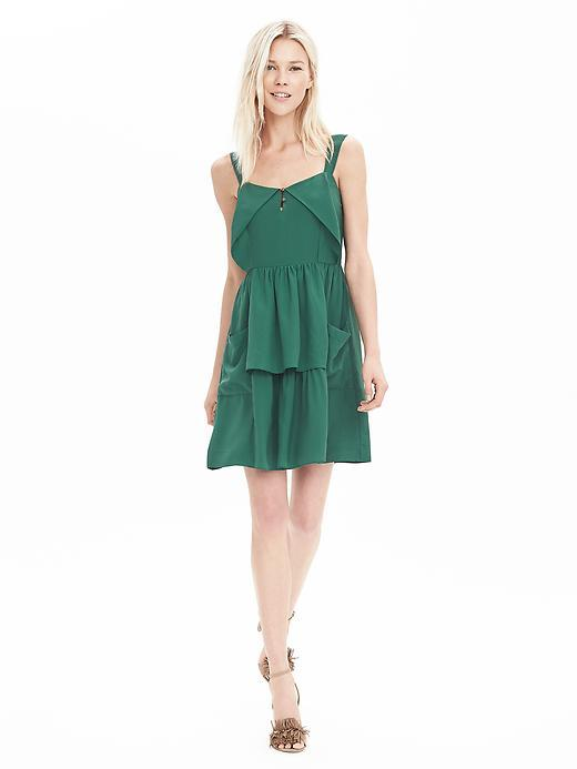 Heritage Silk Ruffle Dress Green Earth - length: mid thigh; pattern: plain; sleeve style: sleeveless; waist detail: fitted waist; neckline: sweetheart; predominant colour: emerald green; occasions: evening; fit: fitted at waist & bust; style: fit & flare; fibres: silk - 100%; hip detail: adds bulk at the hips; sleeve length: sleeveless; pattern type: fabric; texture group: other - light to midweight; season: a/w 2015; wardrobe: event