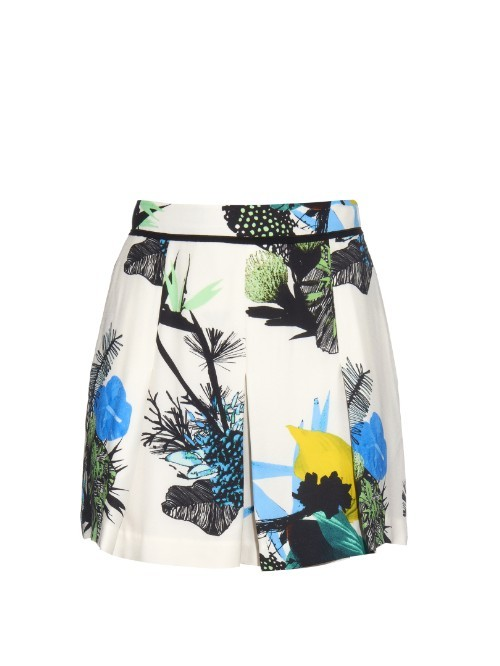 Ikebana Floral Print Shorts - waist: high rise; predominant colour: ivory/cream; secondary colour: diva blue; occasions: casual, holiday; fibres: viscose/rayon - 100%; texture group: cotton feel fabrics; pattern type: fabric; pattern: patterned/print; pattern size: big & busy (bottom); multicoloured: multicoloured; season: a/w 2015; style: tailored shorts; length: mid thigh shorts; fit: a-line; wardrobe: holiday
