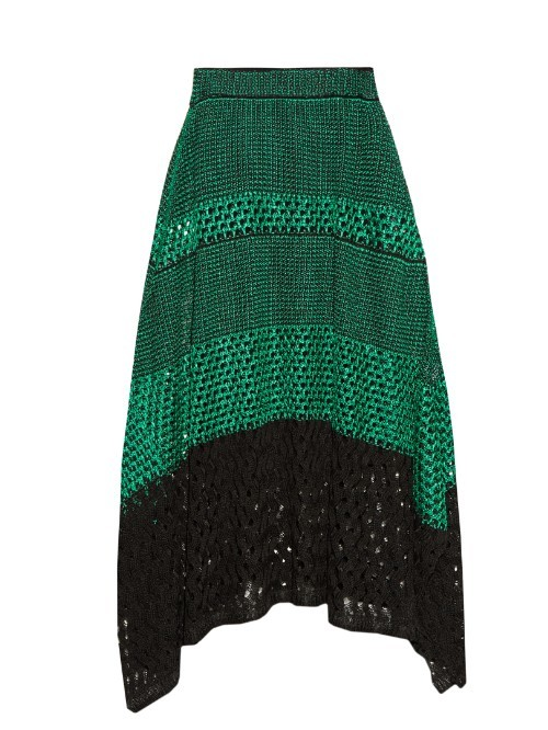 Bi Colour Crochet Midi Skirt - length: below the knee; fit: loose/voluminous; waist: high rise; predominant colour: dark green; secondary colour: black; occasions: casual, creative work; style: asymmetric (hem); fibres: silk - mix; hip detail: subtle/flattering hip detail; waist detail: feature waist detail; pattern type: fabric; texture group: other - light to midweight; embellishment: lace; pattern size: standard (bottom); pattern: horizontal stripes (bottom); season: a/w 2015; wardrobe: highlight