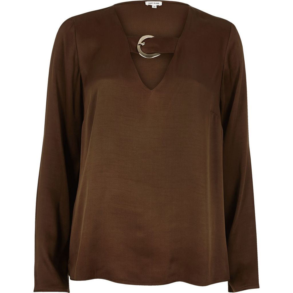 Womens Brown Flared Sleeve Satin Top - pattern: plain; predominant colour: chocolate brown; occasions: casual, creative work; length: standard; style: top; neckline: peep hole neckline; fibres: viscose/rayon - 100%; fit: loose; sleeve length: long sleeve; sleeve style: standard; texture group: structured shiny - satin/tafetta/silk etc.; pattern type: fabric; season: a/w 2015