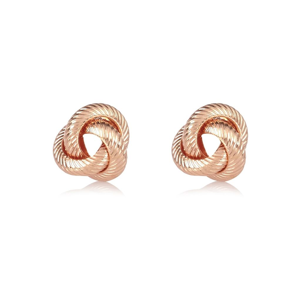 Womens Rose Gold Tone Knotted Stud Earrings - predominant colour: gold; occasions: evening, occasion; style: stud; length: short; size: small/fine; material: chain/metal; fastening: pierced; finish: metallic; season: a/w 2015; wardrobe: event