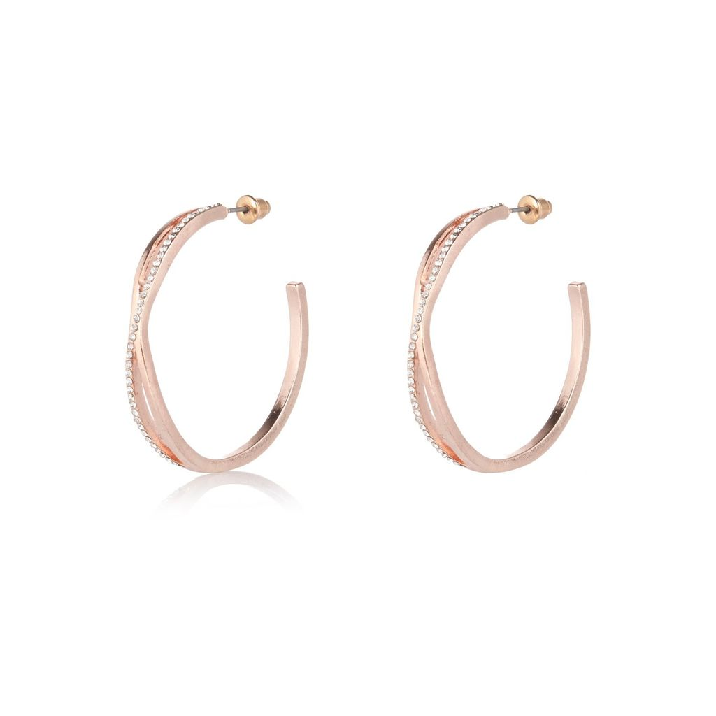 Womens Rose Gold Tone Twist Hoop Earrings - predominant colour: gold; occasions: evening, occasion; style: hoop; length: mid; size: large/oversized; material: chain/metal; fastening: pierced; finish: metallic; season: a/w 2015; wardrobe: event