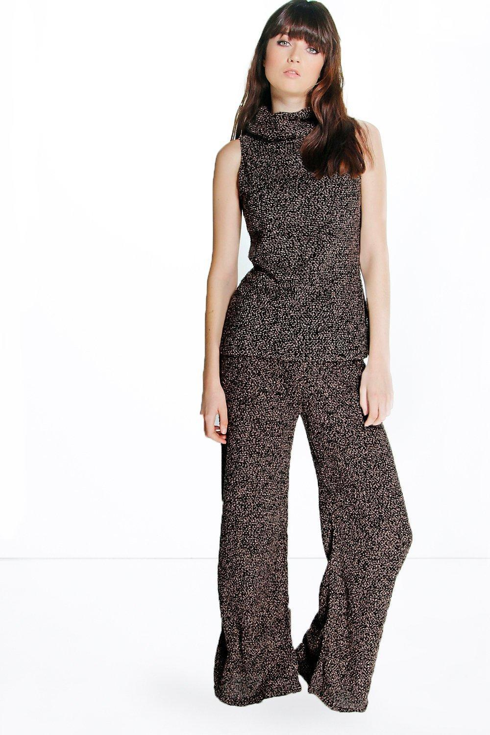 Roll Neck Jumper & Flares Knitted Co Ord Black - sleeve style: sleeveless; neckline: wide roll/funnel neck; style: standard; predominant colour: charcoal; occasions: casual, creative work; length: standard; fibres: polyester/polyamide - stretch; fit: standard fit; sleeve length: sleeveless; texture group: knits/crochet; pattern type: knitted - fine stitch; pattern size: standard; pattern: patterned/print; season: a/w 2015; wardrobe: highlight