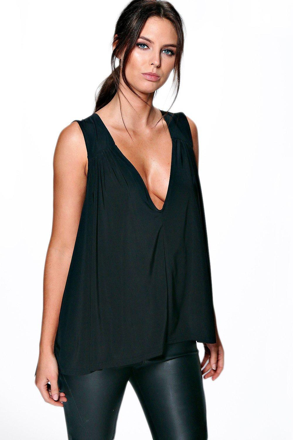 Cape Back Slinky V Neck Top Black - neckline: plunge; pattern: plain; sleeve style: sleeveless; style: vest top; predominant colour: black; occasions: casual; length: standard; fibres: polyester/polyamide - 100%; fit: loose; sleeve length: sleeveless; pattern type: fabric; texture group: jersey - stretchy/drapey; season: a/w 2015; wardrobe: basic