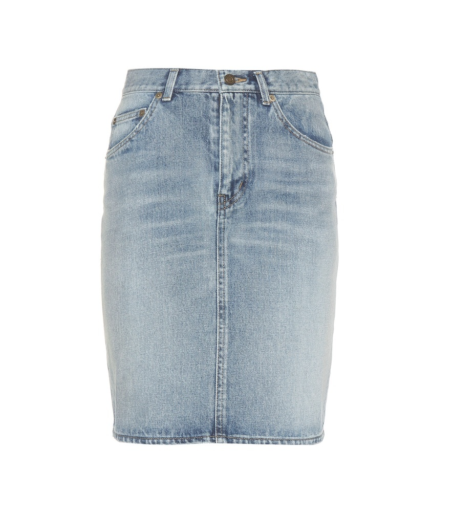 Denim Skirt - length: mini; pattern: plain; fit: body skimming; waist: mid/regular rise; predominant colour: pale blue; occasions: casual; style: mini skirt; fibres: cotton - 100%; texture group: denim; pattern type: fabric; season: a/w 2015