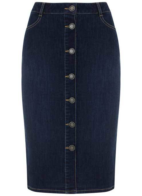 Indigo Denim Button Pencil Skirt - length: below the knee; pattern: plain; style: pencil; fit: tailored/fitted; waist: high rise; predominant colour: navy; occasions: casual; fibres: cotton - 100%; waist detail: feature waist detail; texture group: denim; pattern type: fabric; season: a/w 2015; wardrobe: basic