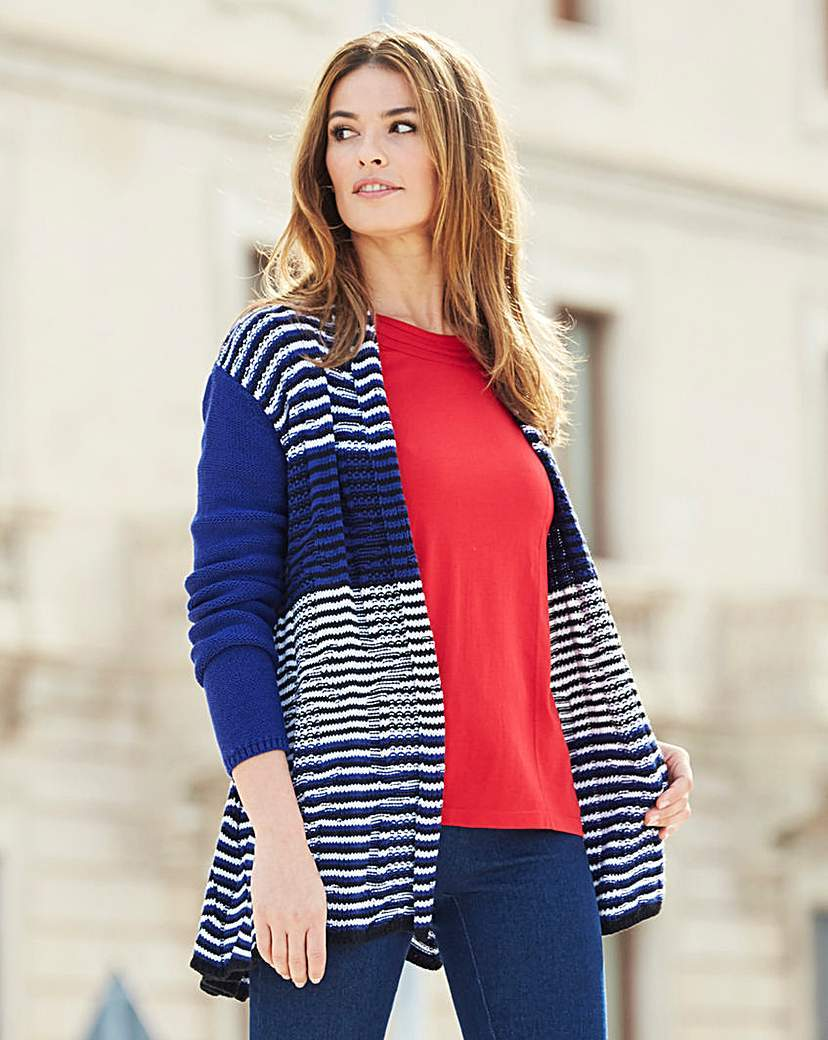 Stripe Swing Cardigan - pattern: horizontal stripes; neckline: collarless open; style: open front; predominant colour: navy; occasions: casual, creative work; fibres: cotton - mix; fit: loose; length: mid thigh; sleeve length: long sleeve; sleeve style: standard; texture group: knits/crochet; pattern type: knitted - fine stitch; pattern size: big & busy (top); season: a/w 2015; wardrobe: highlight