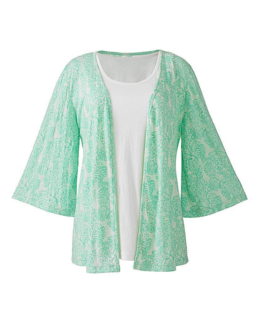 Butterfly Burnout Kimono And Cami - neckline: round neck; secondary colour: white; predominant colour: pistachio; occasions: casual; length: standard; fibres: cotton - mix; fit: body skimming; sleeve length: 3/4 length; sleeve style: standard; pattern type: fabric; pattern size: light/subtle; pattern: patterned/print; texture group: other - light to midweight; style: mock top; season: a/w 2015; wardrobe: highlight