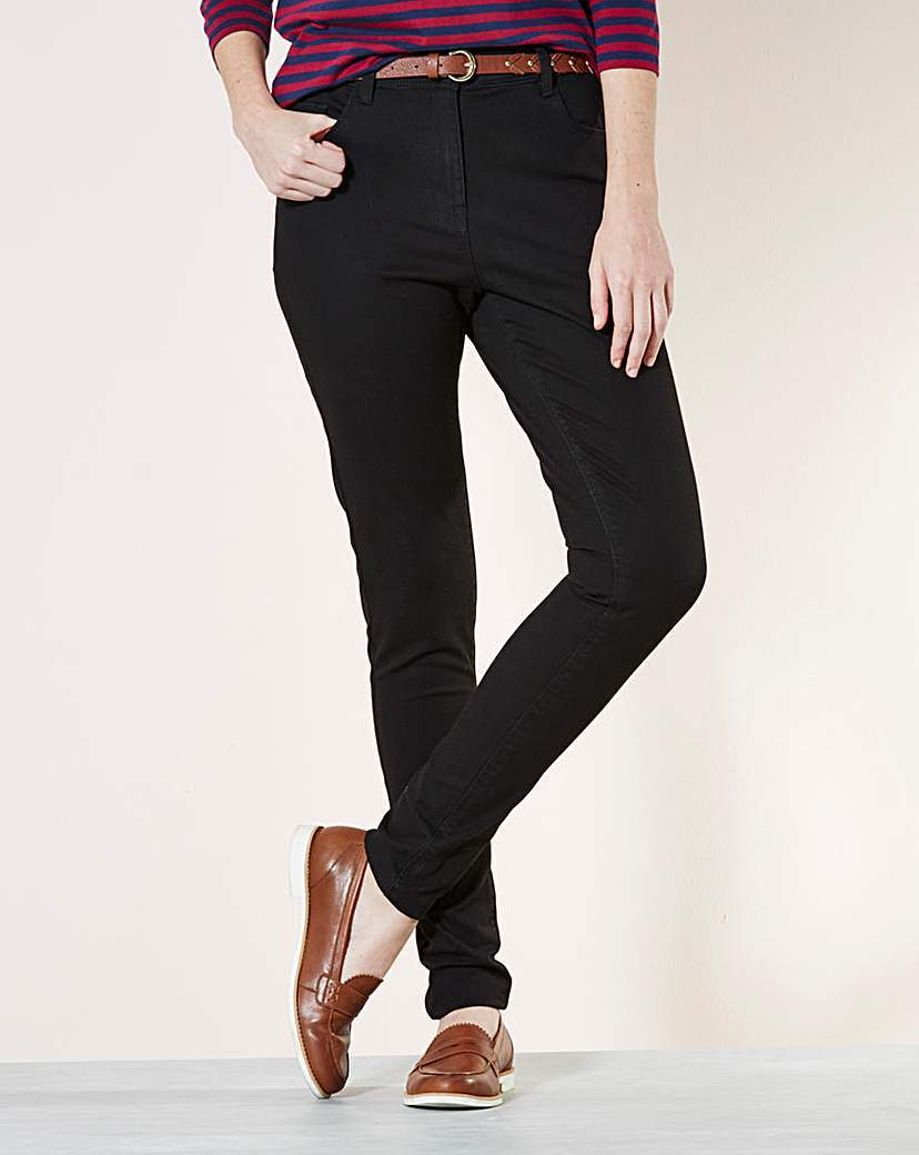 Slim Leg Jeans Long - length: standard; pattern: plain; style: slim leg; waist: mid/regular rise; predominant colour: black; occasions: casual; fibres: cotton - stretch; texture group: denim; pattern type: fabric; season: a/w 2015; wardrobe: basic