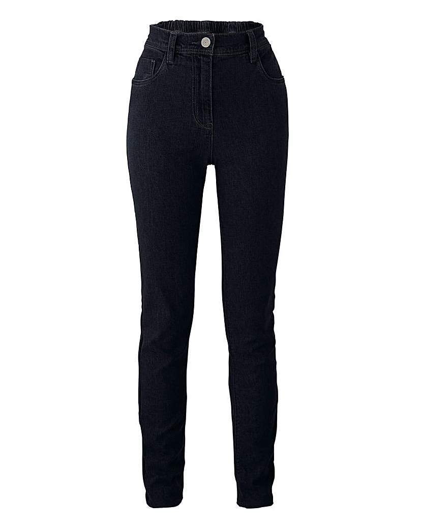 Slim Leg Jeans Long - style: skinny leg; length: standard; pattern: plain; waist: high rise; pocket detail: traditional 5 pocket; predominant colour: black; occasions: casual, creative work; fibres: cotton - stretch; jeans detail: dark wash; texture group: denim; pattern type: fabric; season: a/w 2015; wardrobe: basic